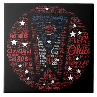 "State of Ohio Word Art (6""X6"") Ceramic Photo Tile"