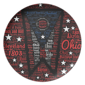 State of Ohio Word Art Melamine Plate