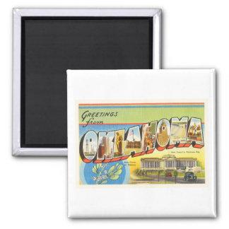 State of Oklahoma OK Old Vintage Travel Souvenir 2 Inch Square Magnet