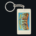 """State of Pennsylvania PA Vintage Travel Souvenir Keychain<br><div class=""""desc"""">State,  Pennsylvania PA  A nostalgic,  vintage travel souvenir postcard image,  an authentic retro design. Greetings from the American Travelogue Virtual Touring Company!</div>"""