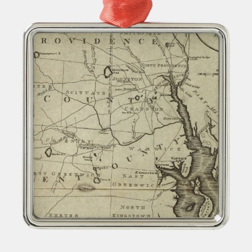 State of Rhode Island 2 Metal Ornament