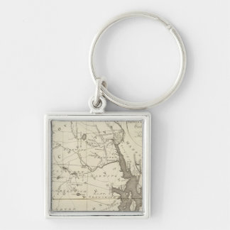State of Rhode Island Silver-Colored Square Keychain