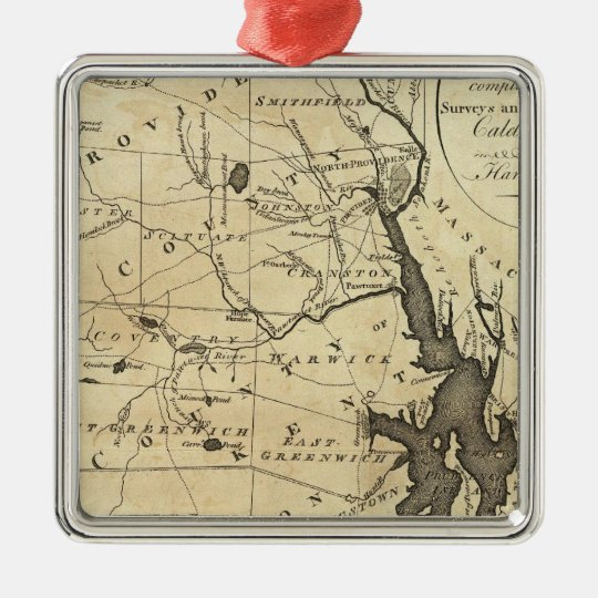 State of Rhode Island Metal Ornament