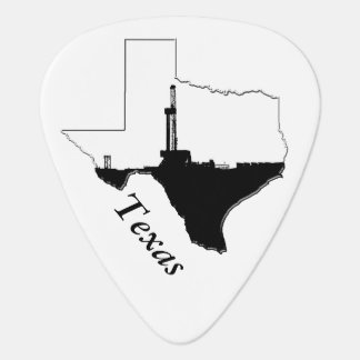 State of Texas and Oil Drilling Rig Guitar Pick