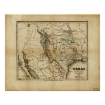State of Texas Map (1846) Poster