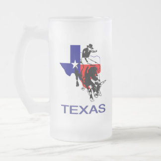 State of Texas Rodeo Bull Rider 16 Oz Frosted Glass Beer Mug