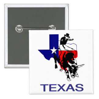 State of Texas Rodeo Bull Rider 2 Inch Square Button