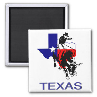 State of Texas Rodeo Bull Rider 2 Inch Square Magnet