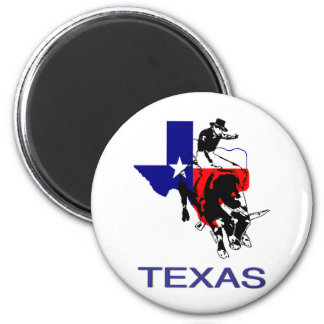 State of Texas Rodeo Bull Rider 2 Inch Round Magnet