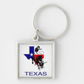 State of Texas Rodeo Bull Rider Silver-Colored Square Keychain