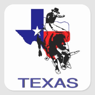 State of Texas Rodeo Bull Rider Square Sticker