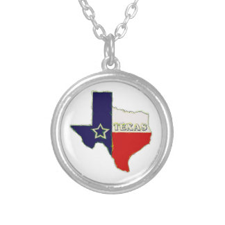 STATE OF TEXAS ROUND PENDANT NECKLACE