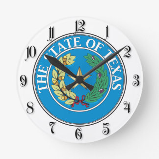 State of Texas seal Round Clock