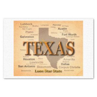 """State of Texas Vintage Map, Austin, Houston 10"""" X 15"""" Tissue Paper"""