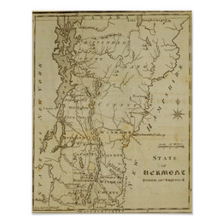 State of Vermont Drawn and Engraved Poster