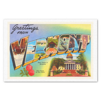 State of Vermont VT Old Vintage Travel Souvenir Tissue Paper