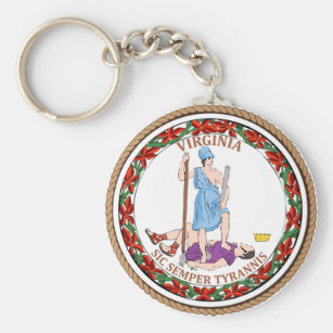 State of Virginia Flag Seal Keychain
