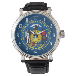 State of Wisconsin seal Wrist Watch