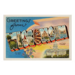 State of Wisconsin WI Old Vintage Travel Souvenir Poster