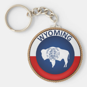 State of Wyoming Flag Seal Keychain