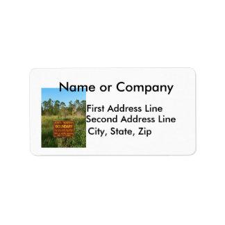 State park boundary sign Savannas background Address Label