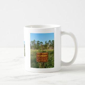 State park boundary sign Savannas background Classic White Coffee Mug