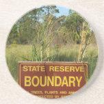 State park boundary sign Savannas background Drink Coasters
