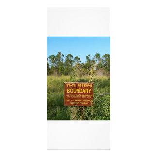 State park boundary sign Savannas background Custom Rack Cards