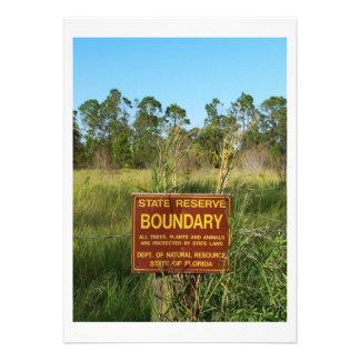 State park boundary sign Savannas background Invitations