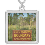 State park boundary sign Savannas background Custom Necklace