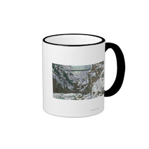 State Park Gorge Suspension Bridge View in Coffee Mugs