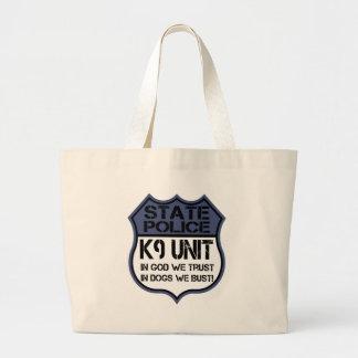 State Police K9 Unit In God We Trust Motto Jumbo Tote Bag