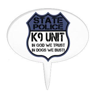 State Police K9 Unit In God We Trust Motto Cake Topper