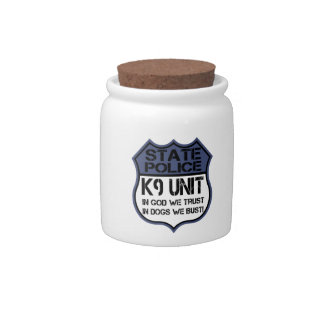 State Police K9 Unit In God We Trust Motto Candy Jars