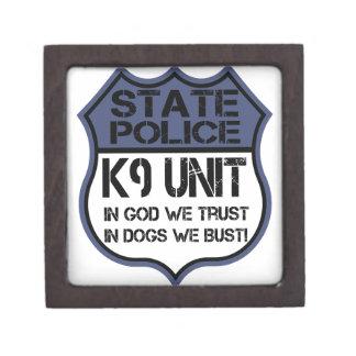 State Police K9 Unit In God We Trust Motto Keepsake Box