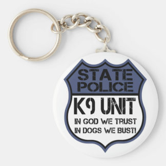State Police K9 Unit In God We Trust Motto Keychain