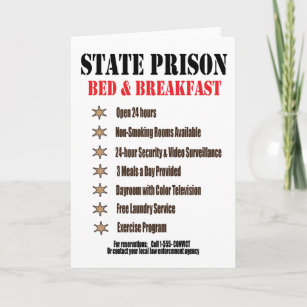 Inmate cards zazzle state prison bed and breakfast greeting card m4hsunfo