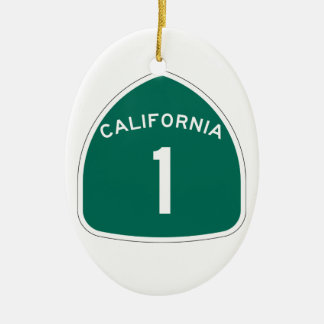 State Route 1, California, USA Double-Sided Oval Ceramic Christmas Ornament