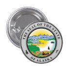 State Seal of Alaska 1 Inch Round Button