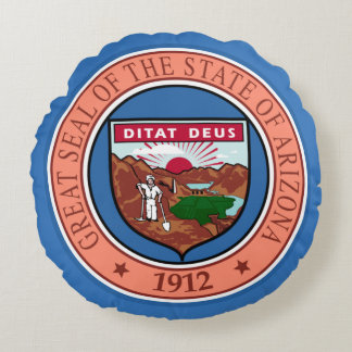 State seal of Arizona Round Pillow
