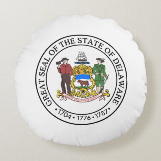 State seal of Delaware Round Pillow