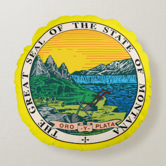 State seal of Montana Round Pillow