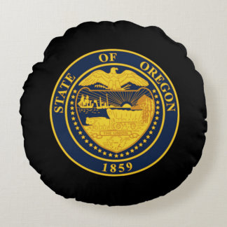 State seal of Oregon Round Pillow