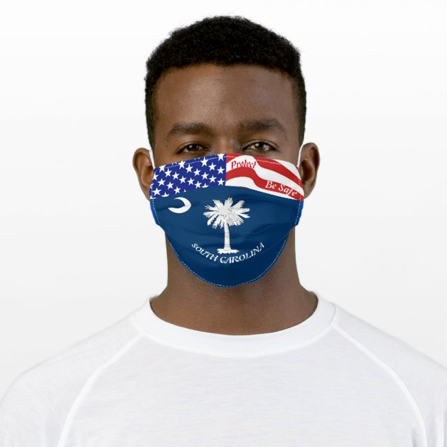 State South Carolina Flag w/ Stars Stripes Smile Adult Cloth Face Mask