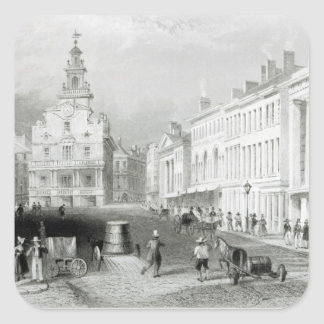 State Street, Boston,engraved by S.Lacey Square Sticker