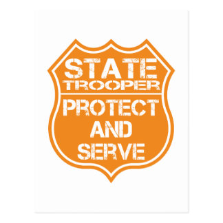 State Trooper Badge Protect and Serve Postcard