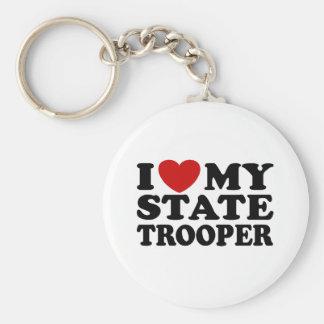 State Trooper Basic Round Button Keychain