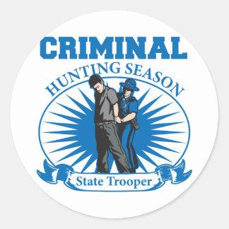 State Trooper Criminal Hunting Season Classic Round Sticker