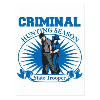 State Trooper Criminal Hunting Season Postcard
