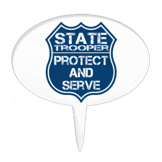 State Trooper Police Badge Protect and Serve Cake Topper